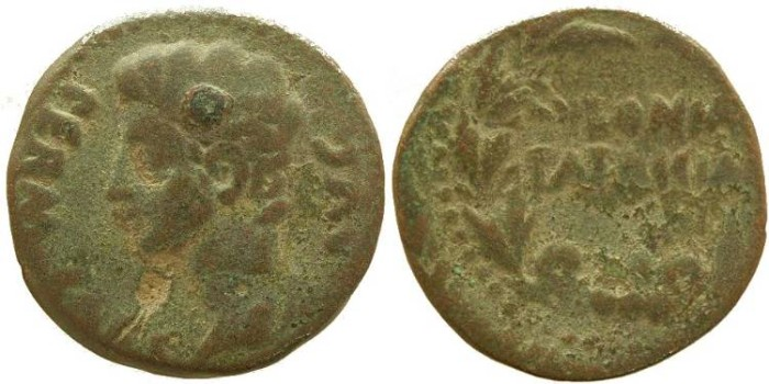 Ancient Coins - Augustus Ae23 As from Spain - Colonia Patricia