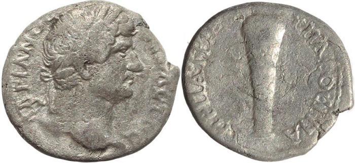 Ancient Coins - Roman Provincial coin of Hadrian AR Didrachm of Caesarea Cappadocia - Club of Hercules