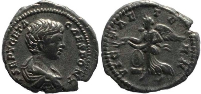 Ancient Coins - Geta AR Denarius - VICT AETERN - Laodicea ad Mare mint