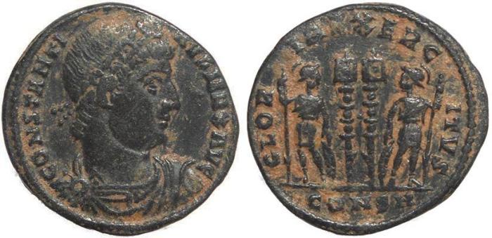 Ancient Coins - Roman coin of Constantine I - GLORIA EXERCITVS - Constantinople