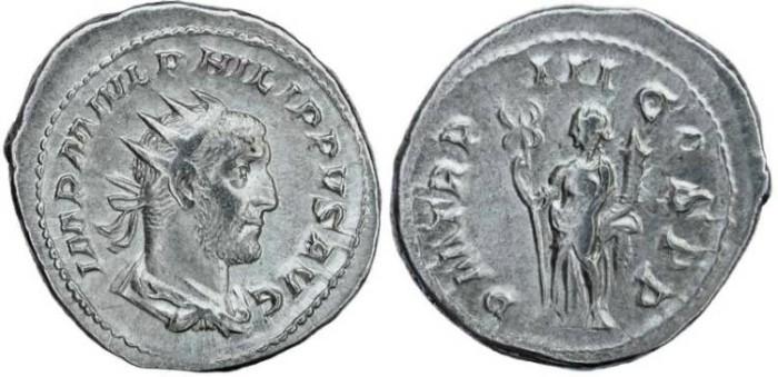 Ancient Coins - Philip I 'the Arab' silver antoninianus - PM TRP III COS PP - 6.06 grams