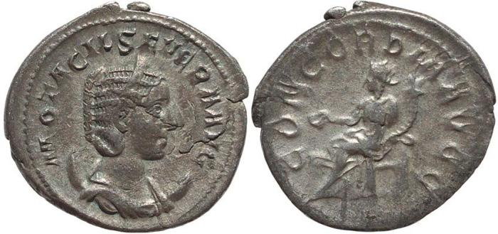 Ancient Coins - Roman coin of Otacilia Severa AR silver antoninianus - CONCORDIA AVGG