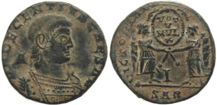 Ancient Coins - Decentius AE Centenionalis - VICTORIAE DD NN AVG ET CAE - Arlelate