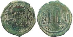Ancient Coins - Byzantine coin of Maurice Tiberius AE Follis - Antioch - Year 3