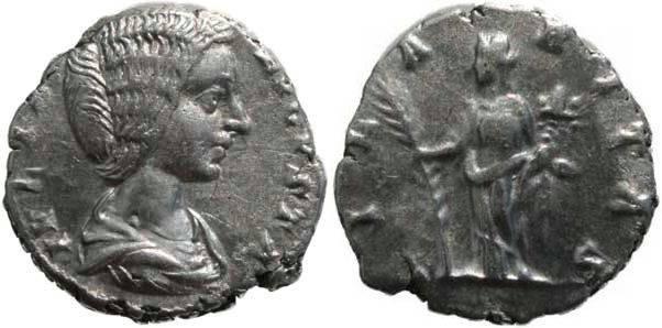 Ancient Coins - Julia Domna 193-211AD denarius - Hilaritas