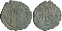 Ancient Coins - Byzantine coin of Maurice Tiberius AE Half Follis - Year 10