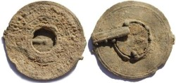 Ancient Coins - Ancient Roman Votive Lead Mirror 2-4th Century AD - Scarcer Type