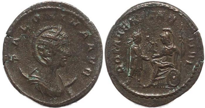 Ancient Coins - Roman coin of Salonina AR silver antoninianus - ROMAE AETERNAE