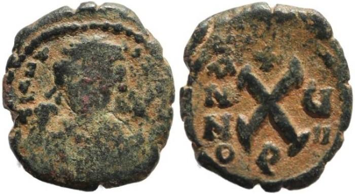 Ancient Coins - Tiberius II Constantine - AE Decanummium, 578-582 AD - Antioch - SB 457, MIB 59