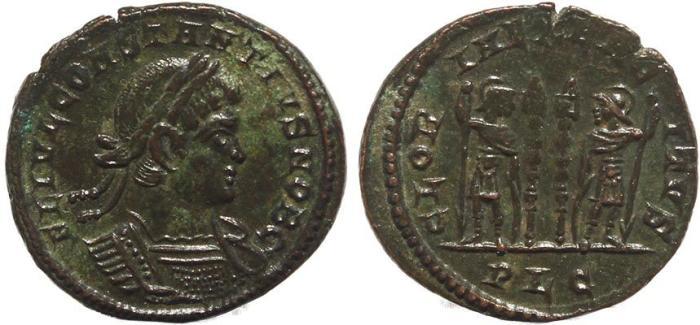Ancient Coins - Roman coin of Constantius II - GLORIA EXERCITVS - Lugdunum