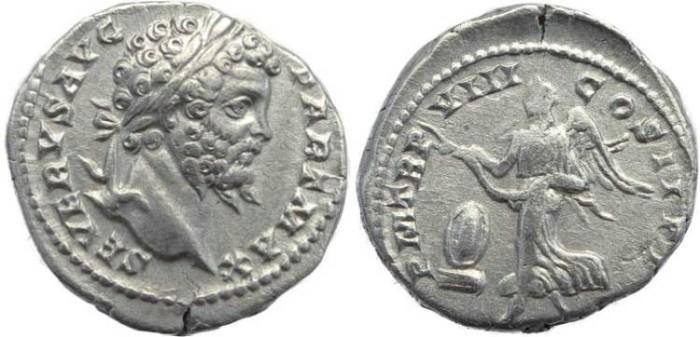 Ancient Coins - Septimius Severus AR silver Denarius - P M TR P VIII COS II P P - RIC 150, RSC 454, BMC 175