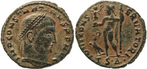 "Ancient Coins - Constantine I ""The Great"" 307-337AD Ae 21 - Thessalonica Mint, Unusual portrait"