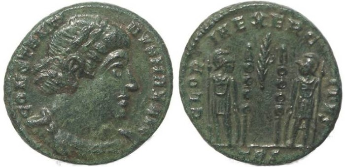 Ancient Coins - Roman coin of Constantine I - GLORIA EXERCITVS - Treveri Mint