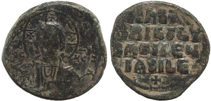 Ancient Coins - Byzantine coin of Constantine VIII Ae 28 follis - Jesus Christ