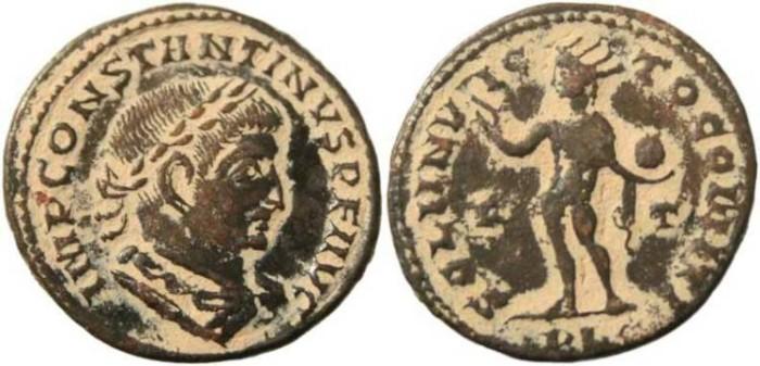 Ancient Coins - 23mm Constantine I -  SOLI INVICTO COMITI - Lugdunum Mint