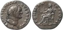 Ancient Coins - Vespasian AR silver denarius - PON MAX TR P COS VI