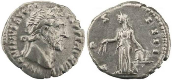 Ancient Coins - Roman silver coin Emperor Antoninus Pius denarius - COS IIII