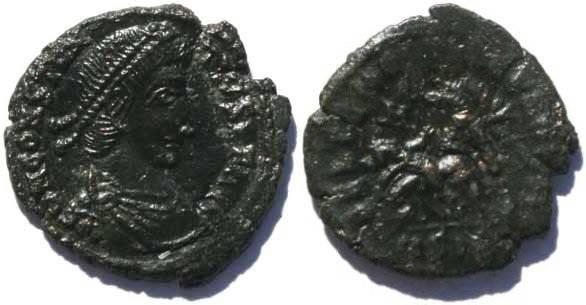 Ancient Coins - Constantius II Siscia Mint, unusual worn die strike