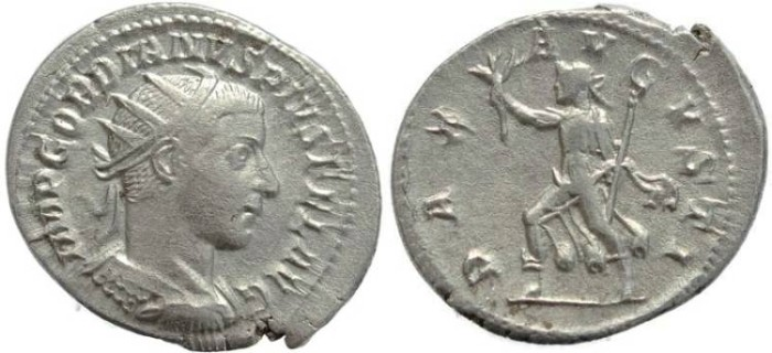 Ancient Coins - Gordian III AR silver antoninianus - PAX AVGVSTI