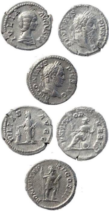Ancient Coins - Three Roman silver denarius of Julia Domna, Septimius Severus and Caracalla