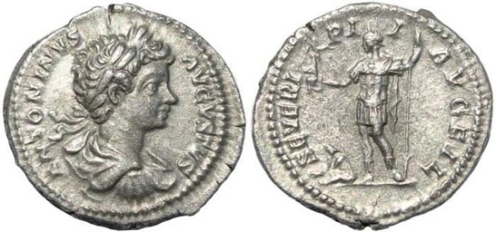 Ancient Coins - Caracalla AR silver denarius - SEVERI PII AVG FIL - Rome