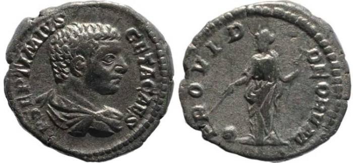 Ancient Coins - Geta AR Denarius - PROVID DEORVM - RIC 51; Sear 7197.