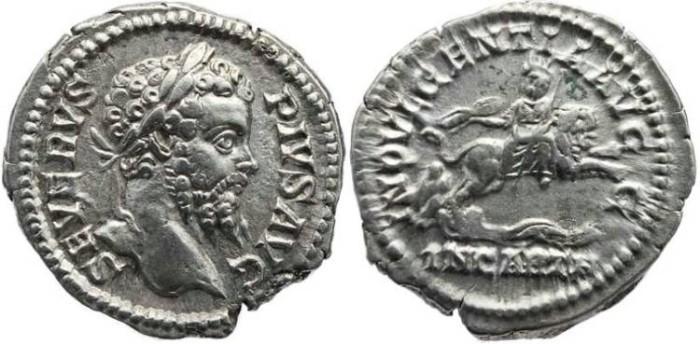 Ancient Coins - Septimius Severus 193-211 AD AR Denarius, Dea Caelestis riding lion