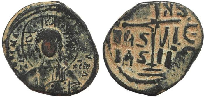 Ancient Coins - Byzantine coin of Romanus III Ae 28 follis - Jesus Christ