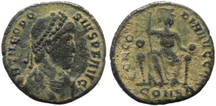 Ancient Coins - Theodosius I - CONCORDIA AVGGG - Constantinople Mint