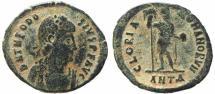 Ancient Coins - Roman coin of Theodosius I Ae2 - GLORIA ROMANORVM - Antioch