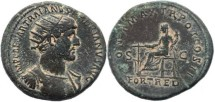 Ancient Coins - Hadrian dupondius - PONT MAX TR POT COS II, S-C / FORT RED - RIC 557