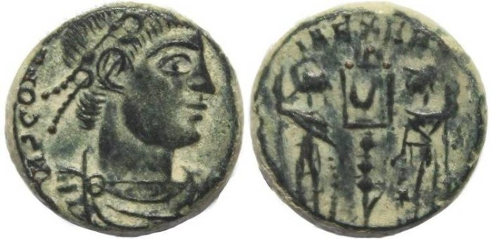 Ancient Coins - Interesting small coin of Constans - GLORIA EXERCITVS - Arles Mint