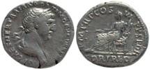 Ancient Coins - Trajan silver denarius - PM TRP COS VI PP SPQR, FORT RED
