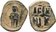 Ancient Coins - Byzantine coin anonymous Follis Class C attributed to Michael IV - 1034-1041 AD