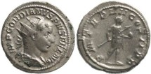 Ancient Coins - Gordian III 238-244AD Antoninianus - Gordian holding globe and spear