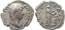 Ancient Coins - Roman coin of Hadrian AR silver denarius - SALVS AVG