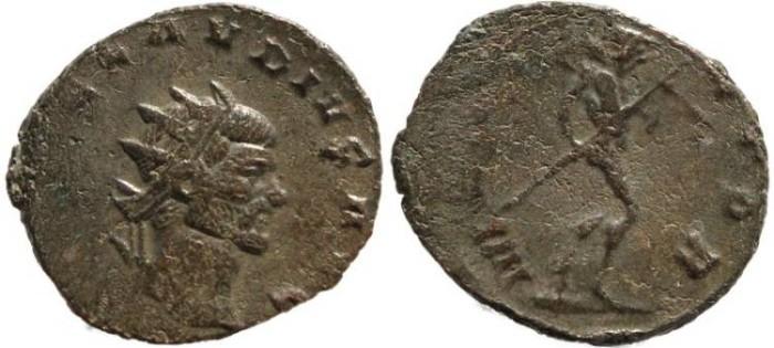 Ancient Coins - Claudius II silvered antoninianus - MARS VLTOR