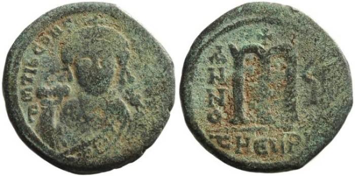 Ancient Coins - Maurice Tiberius, Æ Follis, 582-602 AD, Antioch Mint (Theoupolis)