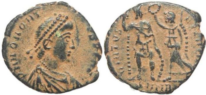 Ancient Coins - Roman coin of Honorius - VIRTVS EXERCITI - Nicomedia Mint