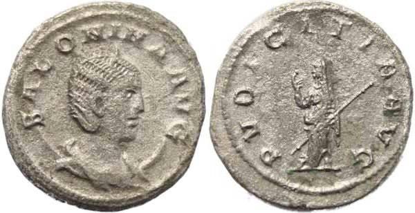 Ancient Coins - Augusta Salonina AR Antoninianus - PUDICITIA  AVG