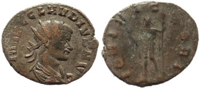 Ancient Coins - Claudius II Gothicus antoninianus - IOVI VICTORI