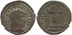 Ancient Coins - Silvered Ancient Roman coin of Maxentius - CONSERV VRB SVAE - Rome