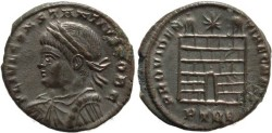 Ancient Coins - Silvered Roman coin of Constantius II - PROVIDENTIAE CAESS - Treveri
