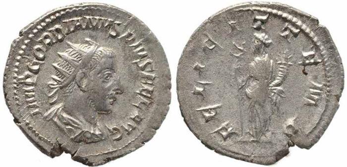 Ancient Coins - Roman coin of Gordian III AR silver antoninianus - FELICIT TEMP