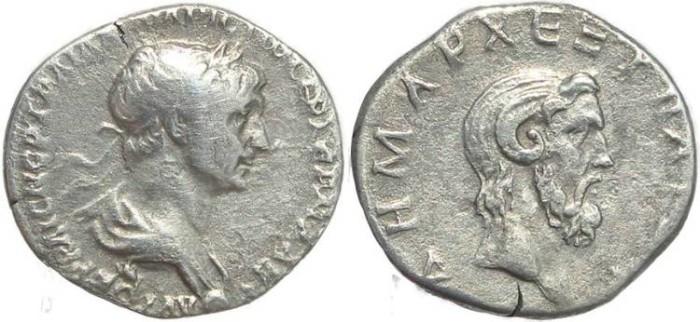Ancient Coins - Roman coin of Trajan 98-117AD AR drachm - Cappadocia