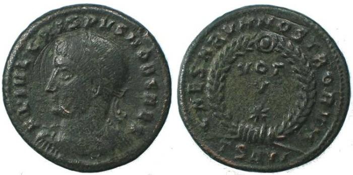 Ancient Coins - Crispus Ae follis CAESARVM NOSTRORVM VOT V - Thessalonica