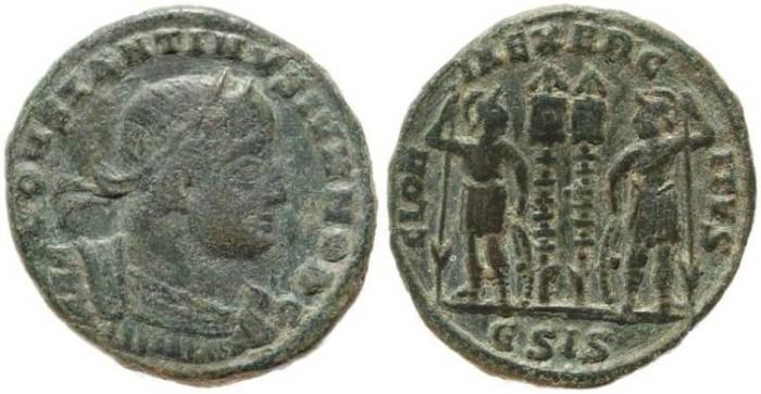 Ancient Coins - Constantine II GLORIA EXERCITVS - Siscia Mint