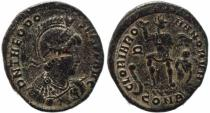 Ancient Coins - Roman coin of Theodosius I Ae2 - GLORIA ROMANORVM - Constantinople