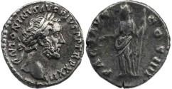 Ancient Coins - Antoninus Pius AR Denarius - PACI AVG COS IIII
