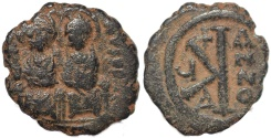 Ancient Coins - Byzantine coin of Justin II and Sophia - Ae half follis - Thessalonica - clashed die